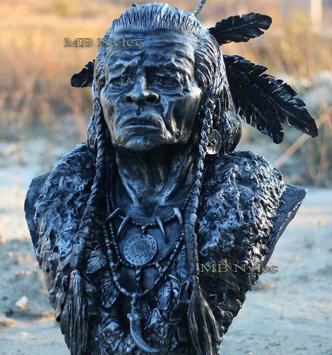Rzeźby z metalu - indianin z metalu - popiersie indianina wykute ze stali - skala 1:1 - metaloplastyka nr.kat Z70
