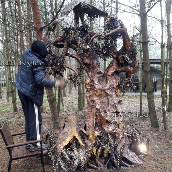 rzeźba z metalu - designerska lampa ogrodowa -  wysokość 3,2 m - metaloplastyka Dębica - nr.kat: Ogd27