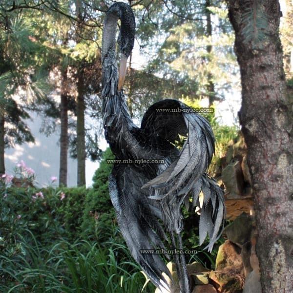 rzeźby z metalu - żuraw ze stali - wysokość 1,8m - numer kat.Z23