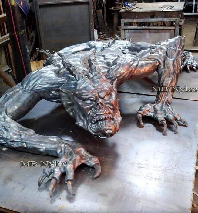 rzeźby z metalu - demon ze stali - płaskorzeźba demon diabeł - metaloplastyka - nr.kat. Z66