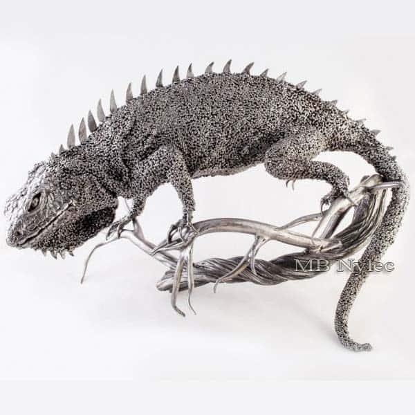 rzeźby z metalu - legwan z metalu - kowalstwo - nr.kat.Z45