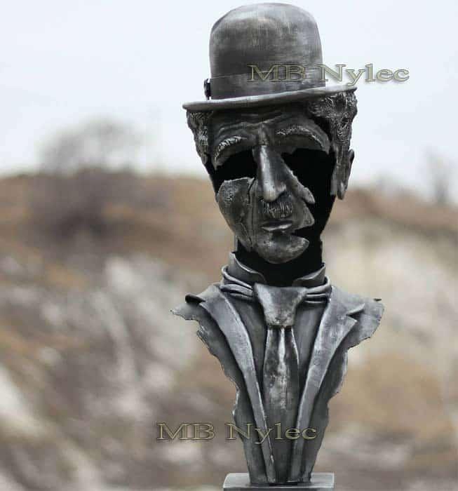 rzeźby ze stali - Charlie Chaplin popiersie - figury metalowe Dębica - kowalstwo artystyczne - nr.kat. Z76