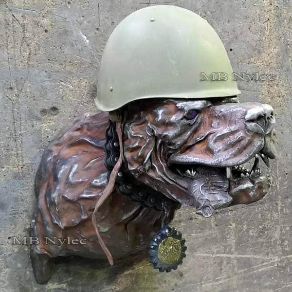 rzeźby ze stali - płaskorzeźba pies żołnierz ze stali - pies wojownik - metaloplastyka - nr.kat. Z67
